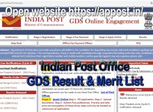 Indian Post office UP Gramin Dak Sevak Result and merit list from https://appost.in/gdsonline/Home.aspx