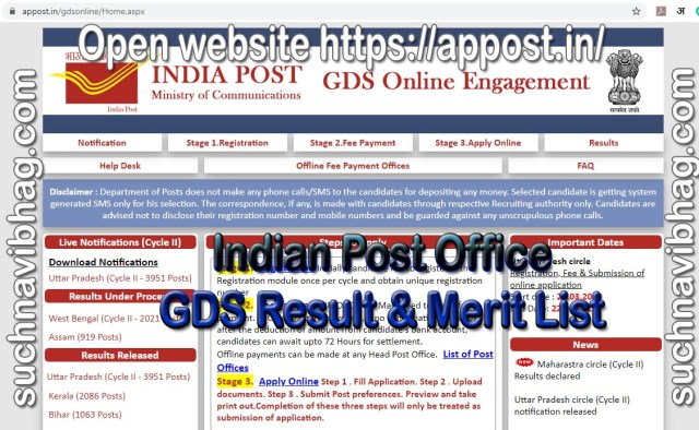 Indian Post Office Gramin Dak Sevak Result and merit list search by name