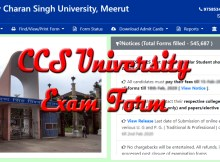 Notification about to fill CCS University exam form online for even semester exam.