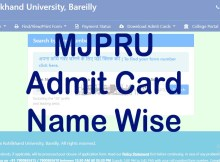 MJPRU Admit Card 2020-21 Search Name Wise, Exam Scheme (Main, Improvement)