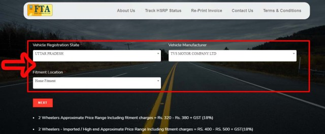 Step 5 UP High Security Number Plate Online Apply, Price, Last Date, Track Status