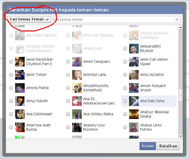 Mengundang teman ke fanspage facebook