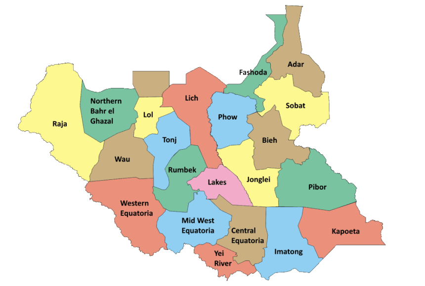 Photo: South Sudan states map