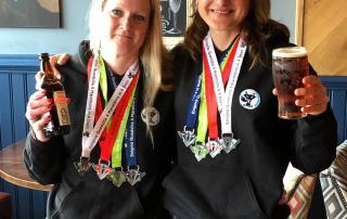 Sarah Pennock and Karen Williamson after a wet and windy Quadzilla
