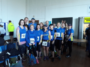 Julie Rout, Mark Johnstonwood, Nicola Cant, Jimmy Secker, Andrea Hunt, Ruth Cowlin, Jacquie Webb, James Wood, Sue Crawte, Claire Fradley, Lisa Dalton, Michelle Holland and Claire Rooke before the Tarpley 10 race.