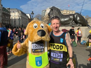 Todd Lewis raised £700 at London Landmarks Half Marathon for Guide Dog's UK.