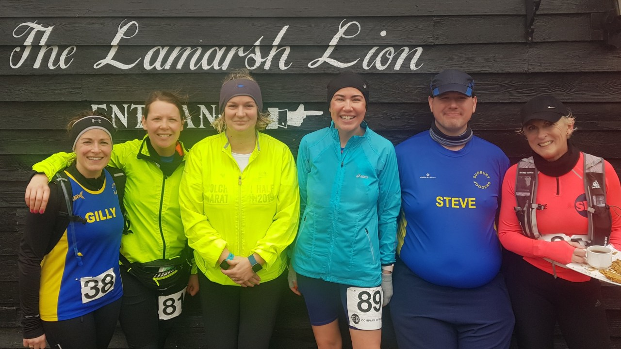 Clare Gillibrand, Sian Guyton, Sally Sandford, Tina O'Beirne, Steve Roberts and Sue Crawte after running 5 miles through the Essex countryside for the Larmarsh Lionheart race in gale-force winds.