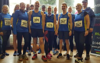 (L-R) Sharon Breward, Ruth Cowlin, Claire Rooke, Matthew Benson, Jodie Budd, James Wood, Brian Bloomfield, Jenny Merry, Michelle Holland, Thierry Pennec, Claire Fradley, Sue Crawte and Steve Roberts ready to run the Tarpley 10.