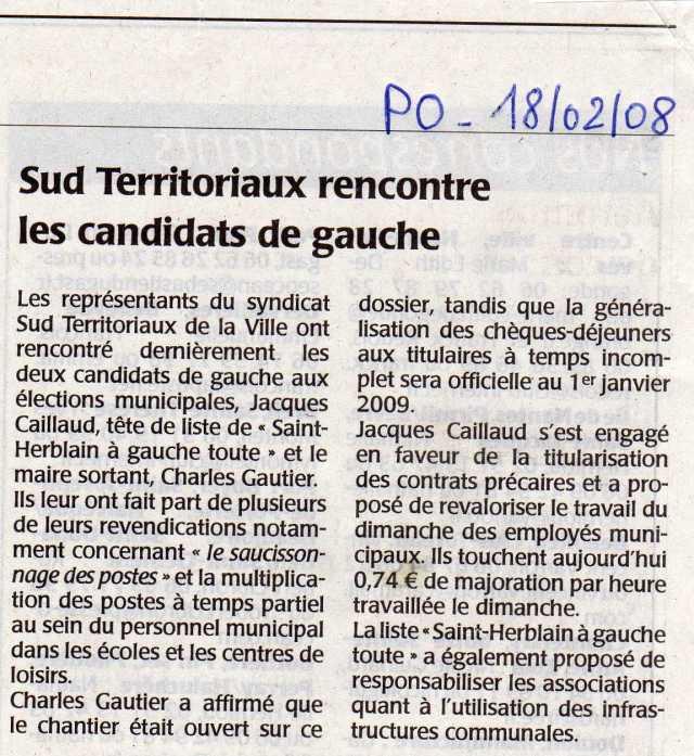 Le syndicat SUD rencontre les candidats degauche à Saint-Herblain