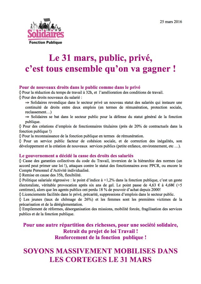Tract 31 mars Solidaires FP