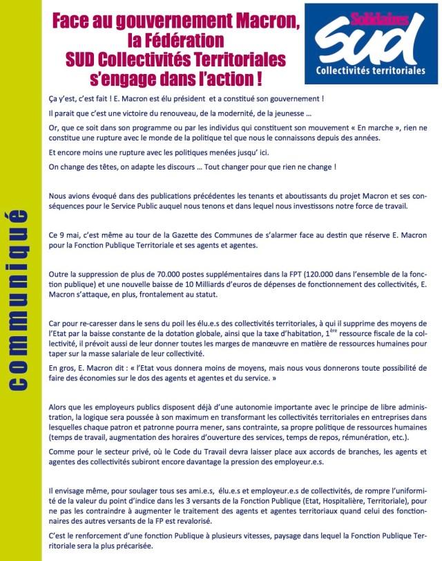 Face au gouvernement Macron, la Fédération Sud Collectivités Territoriales s'engage dans l'action !