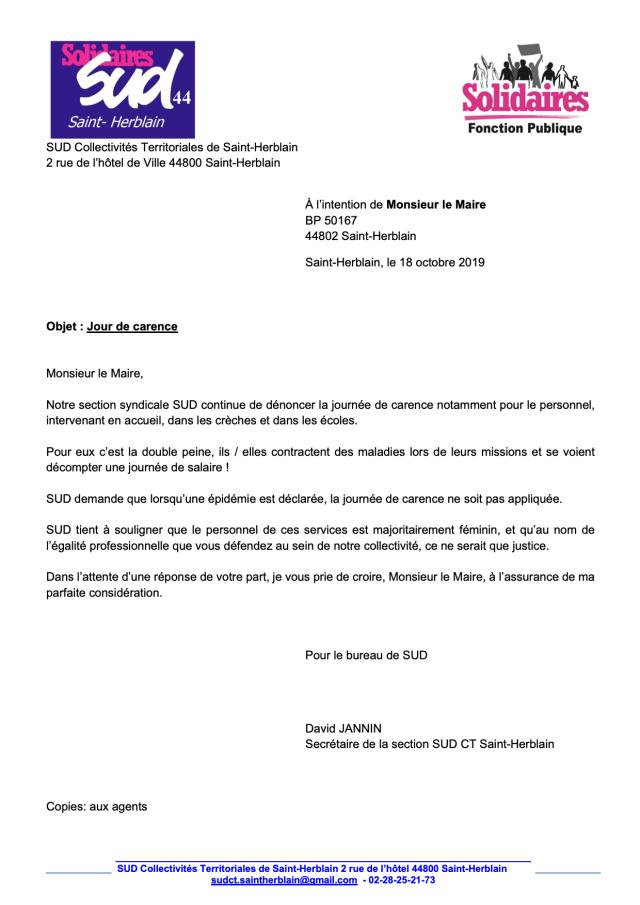 Jour de Carence Syndicat Saint-Herblain