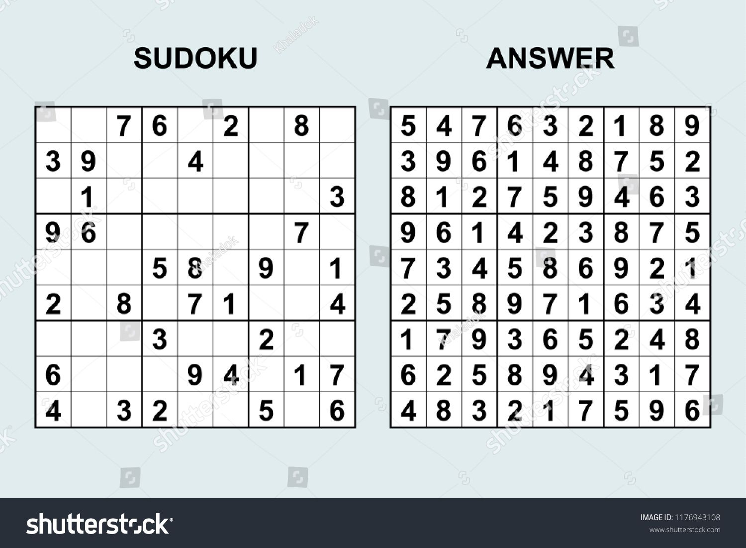 Vector Sudoku With Answer 172 Puzzle Game With Numbers