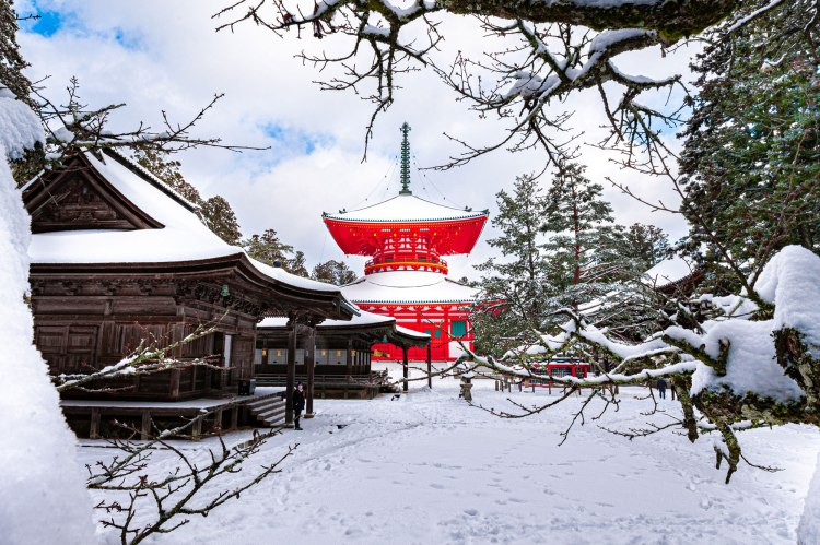 red pagoda in a snow , japan