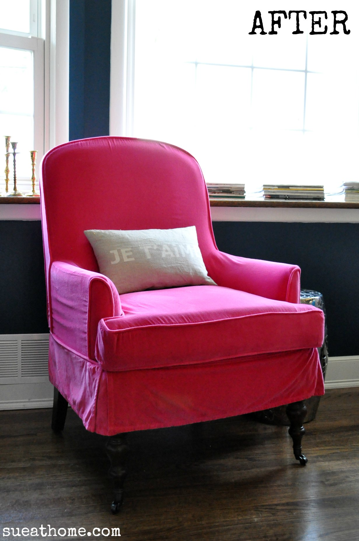 pink slipcover chair wheelchair design guide you too can have a hot sue at home