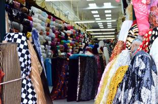 One of the less crowded fabric shops