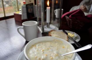 Corn chowder and hot apple cider, perfect!