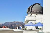 Hollywood sign in the background, one of the domes open