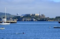 Swimmer with Alcatraz Island, the former prison, in background
