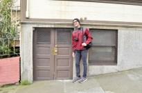 Loren next to a very short door!