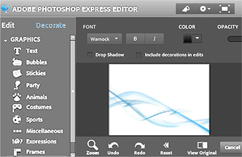 Photo editor options