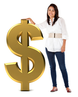 Woman and dollar sign