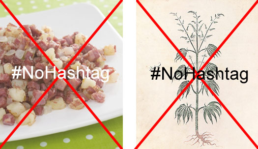 places you don't use hashtags