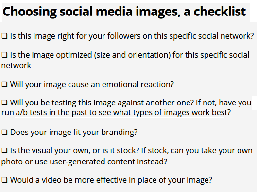 Choosing Social Media Images Checklist