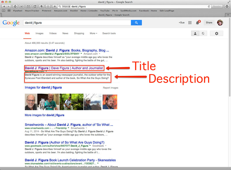 title and description tag in search engine results