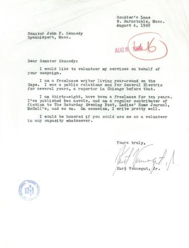 Kurt Vonnegut writes a letter to JFK