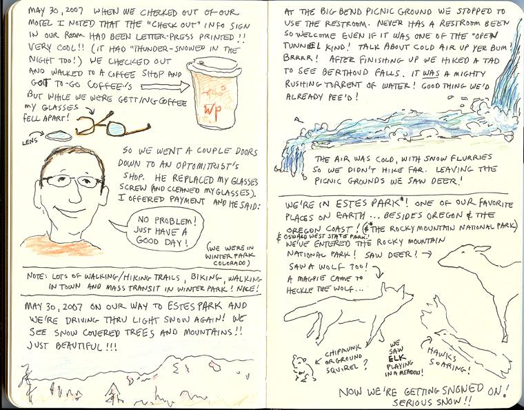 page from Sue Clancy's Oregon Coast sketchbook