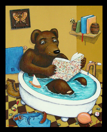 Bookish Bear Bathing
