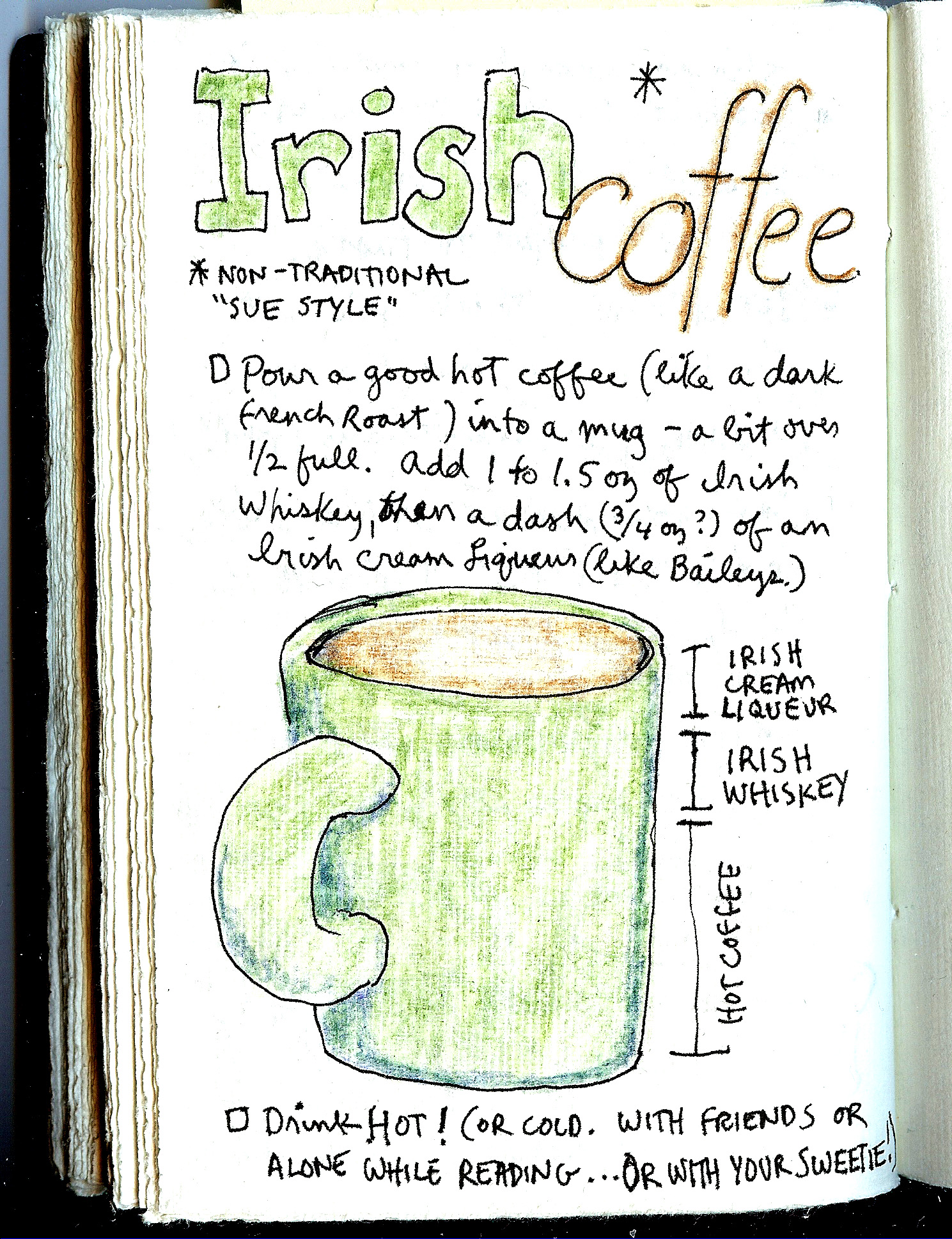 recipe for Irish Coffee made as Sue Clancy likes it