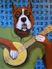 """Banjo Time"" by Sue Clancy 24 x 18 x 2 inches hand dyed paper, hand stenciled paper, and acrylic on cradled board"