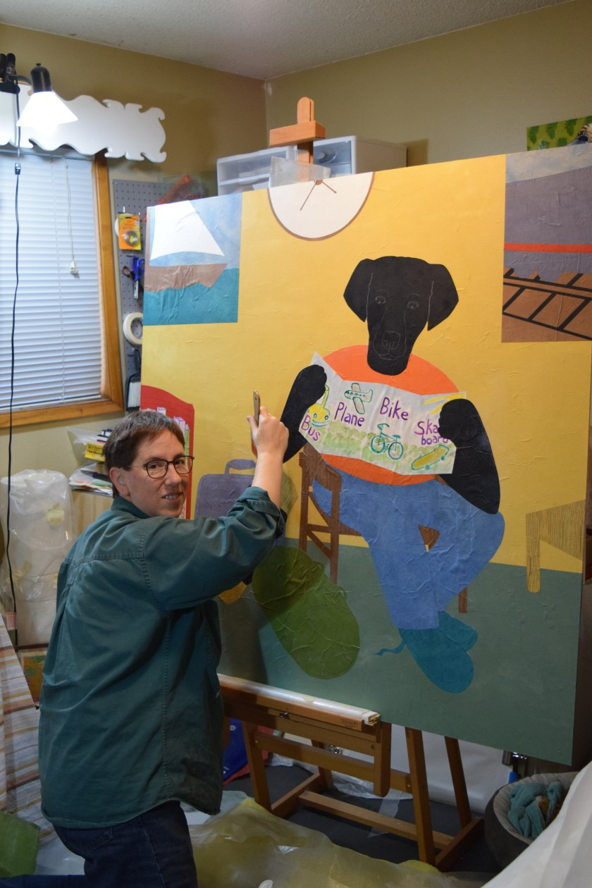 Sue Clancy working on a commission for the lobby of a children's center - using her current easel.