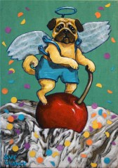 """Pug A Cherry On Top"" By Sue Clancy 7 x 5 x 1.5 inches Hand dyed paper, hand marbled paper, ink and acrylic on cradled board"