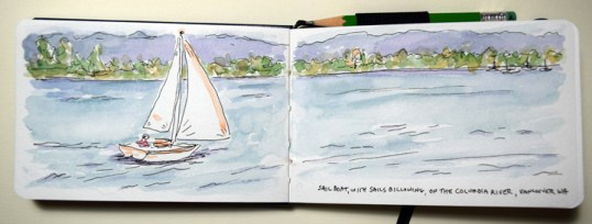 """""""sailboat on water"""" sketchbook page by Sue Clancy"""