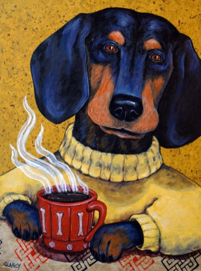 """Paws for Coffee"" - by Clancy - 16 x12 x 2 inchesHand dyed paper, found paper and acrylic on cradled board"