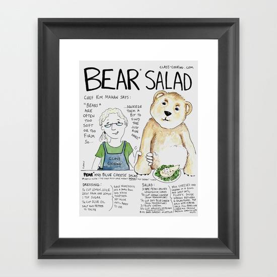 """Bear Salad"" https://society6.com/product/bear-salad_framed-print#s6-7068429p21a12v52a13v54"
