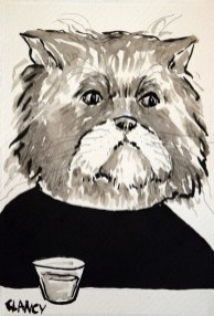 """""""Harold"""" by Sue Clancy (ink on handmade paper)"""