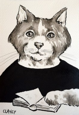"""Starr"" by Clancy 5 x 7 inches ink on handmade paper"