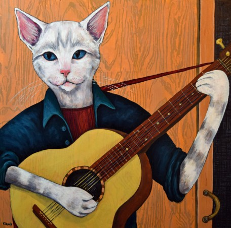 Purrfect Entertainment By Clancy 24 x 24 x 2 inches Hand dyed, hand stenciled paper and acrylic on cradled board