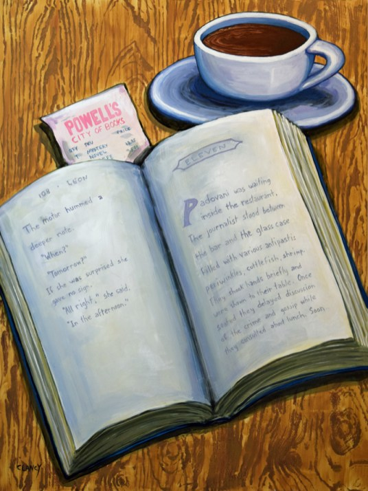 """""""A Novel Morning"""" - by Clancy - 24 x 18 - acrylic and gouache on board"""