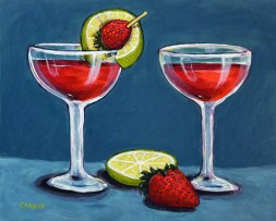 """Strawberry Daiquiris"" - by Clancy - 8 x 10 inches - acrylic and gouache on board"