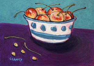 """Life's a bowl of cherries, stems pits and all"" - by Clancy - 8 x 10 inches - acrylic and gouache on board"