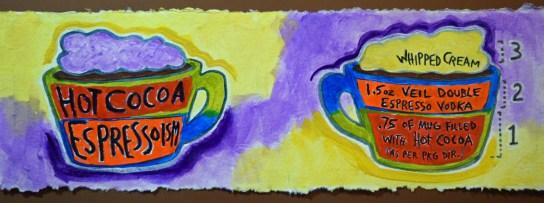 """Hot Cocoa Espressionism"" by Clancy - https://www.theydrawandcook.com/artists/sue-clancy"