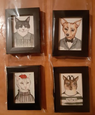 """""""Gang of Four"""" by Clancy (4 pieces individually framed, ready for client)"""