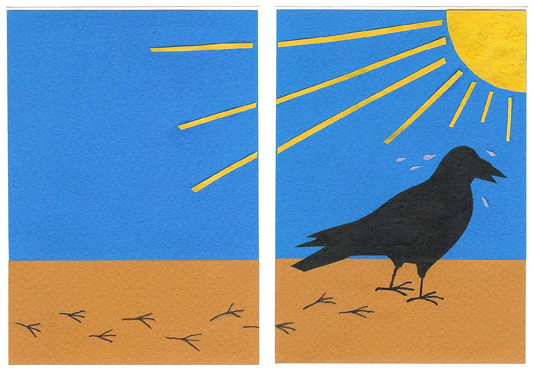 page 1 from - The Crow and The Water Jug - a wordless Aesop counting story by Sue Clancy