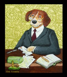 Mr. Legal Beagle by Sue Clancy (mixed media handmade paper collage)
