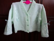 Cardigan with ribbon trimmings